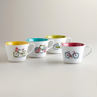 Bicycle Mugs, Set of 4