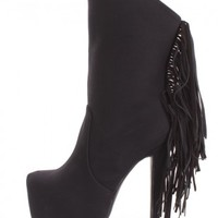 Black Fringe Platform Boots Nubuck Faux Leather
