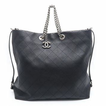 Chanel Quilted Calfskin Leather Chain Shoulder Tote Bag Black 1968