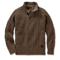 Cable Knit Pullover Sweater / Barbour® Kirkham Half Button Sweater -- Orvis