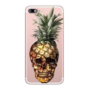 Pineapple Skull Case Cover For Iphone 5 6 7 8 Plus X 10 Banana Fruits Summer Fun
