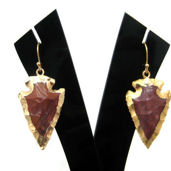 24kt. Gold Dipped Agate Arrow Head Earring Pair party wear jewelry christmas gift for her bohochic electroplated matching pair steampunk