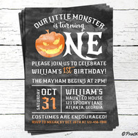 Halloween 1st Birthday Invitation // Personalized Printable Our Little Monster 1st Birthday Invitation // Pumpkin Invitation // 1st Birthday