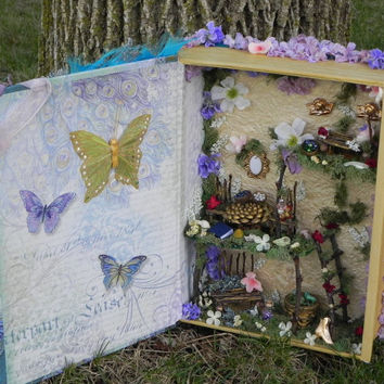 Feather fairy house. Girl's fairy book, upcycled art fairy display, fairy furniture minature furniture. Fairy tale book house, amazing gift!