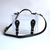 Small Bag number 3 Clear plastic satchel faux leather details shoulder strap (Handmade to order)