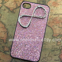 INFINITY--One Direction iphone case, directioner,Harry Styles pink bling glitter case for iPhone 4 Case, iPhone 4s Case, iPhone 4 Case