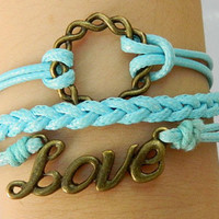 Love never end  Love is like a circle, and forever has no end Alloy cutter pattern ring  Blue Braided Bracelet
