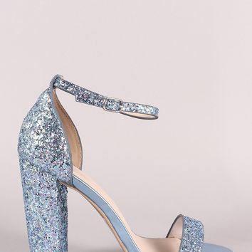 Qupid Glitter Encrusted Open Toe Ankle Strap Chunky Heel