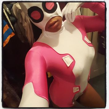 High Quality Gwenpool Costume Pink Gwen Deadpool Suit Spandex Lycra Suit Zentai Cosplay Costume Gwen Pool Costume