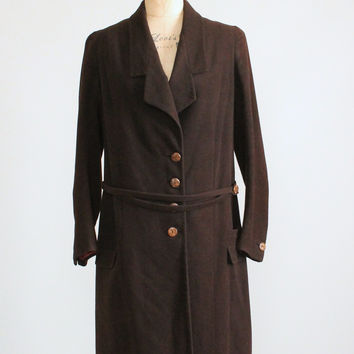 Vintage 1920s Chic Brown Wool Flapper Coat