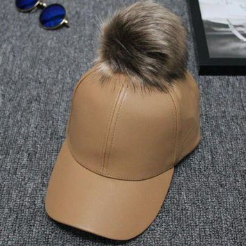 Women Men Unisex Pu Leather Ball Suede Adjustable Baseball Cap Real Fur Pom Poms Candy Color Baseball Hats Hiphop Casual