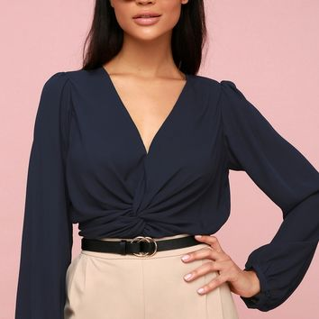 Twist and Clout Navy Blue Long Sleeve Peplum Top