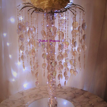 10 Wedding tabletop centerpiece 20 inches tall cascade iridescent waterfall centerpiece set of 10 399.00