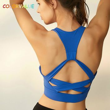 Colorvalue Quick Dry Running Yoga Bra Top Women Beautiful Back Workout Sport Brassiere Anti-sweat Nylon Fitness Sport Bra Top