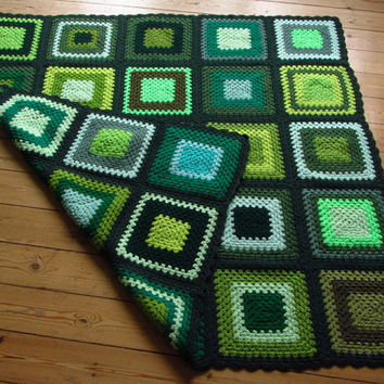 Green hand crochet afghan/blanket/throw/lapghan. Granny squares.  Retro/vintage style. New. Gift for man/woman. Dark green edged.