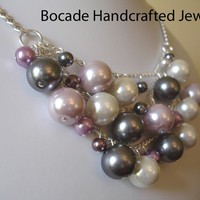 Sassy Multi-Color Glass Pearl Bib Necklace, Silver Bib, Womens Jewelry, Silver Plated, Glass, Pearls, Gray, Purple, Pink, White