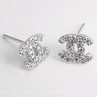 Chanel S925 Silver Women Crystal Rhinestone Fashion Logo Stud Earring Jewelry