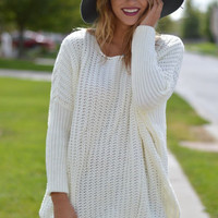 Modern Luxuries Oversized Knit Sweater - White