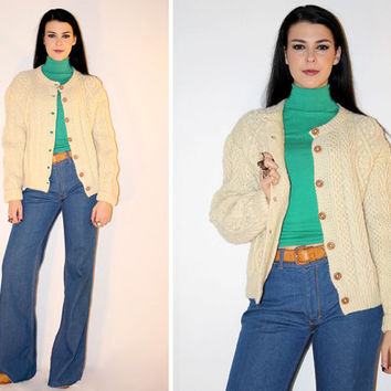 Vintage 60s CARDIGAN Sweater, WOOL Cable Knit Button Down Sweater, Minimalist Earthy Cardigan