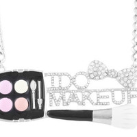 Silver Iced Out I Do Makeup with Brush & Kit Pendant with a 23 Inch Adjustable Necklace