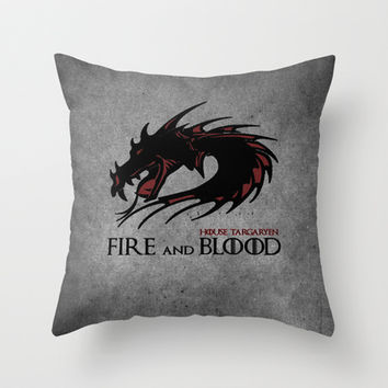 GAME OF THRONES-FIRE AND BLOOD Throw Pillow by Iva Ivanova ART