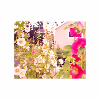 Pink House and Hollyhocks - 8 x 10 - Fine Art Photo Painting Mounted on Matboard