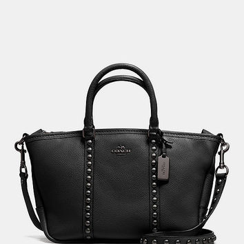 COACH CENTRAL SATCHEL IN LACQUER RIVETS PEBBLE LEATHER | Dillards