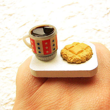 Coffee Ring Miniature  Food Jewelry Coffee And Cookie