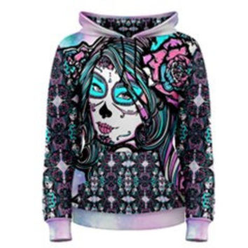 Womens Cosmic Dreamer Pastel Galaxy Kawaii  Hoodie Day of the Dead Tattoo Art All over print fashion gothic pastel goth emo punk hipster