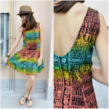 1990 Vintage Dress/ Rastafarian Flirty Dress/ Medium Dress/ Mini Dress/ Hippie Dress/ Cocktail Dress/ Shoulder Strap Dress/ Fun Pretty Dress