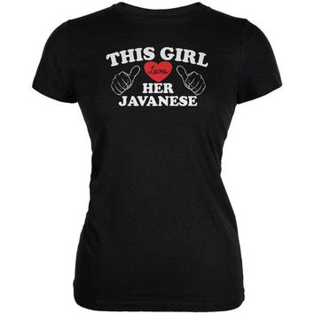 DCCKJY1 Valentines This Girl Loves Her Javanese Black Juniors Soft T-Shirt