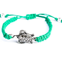 Turtle Bracelet Green Hemp Adjustable