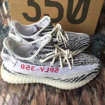 100% AUTHENTIC Adidas YEEZY BOOST 350 V2 Zebra (CP9654) WHITE/CBLACK/RED