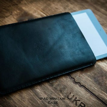 Leather ipad mini Ipad Air cover.  Handmade Genuine  Leather  cover case / Handcrafted / Hand stitched
