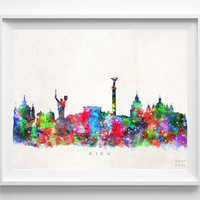 Kiev Skyline Print, Ukraine Print, Kiev Poster, Watercolor Art, Wall Decor, Dorm Room Decor, City Skyline, Giclee Art, Christmas Gift