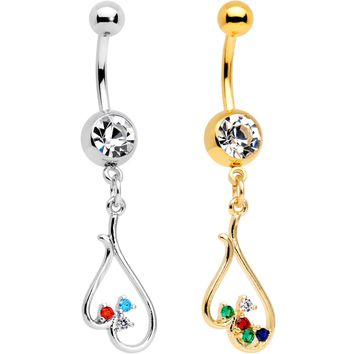 Clear Gem Gold PVD BFF Upside Down Heart Dangle Belly Ring Set of 2