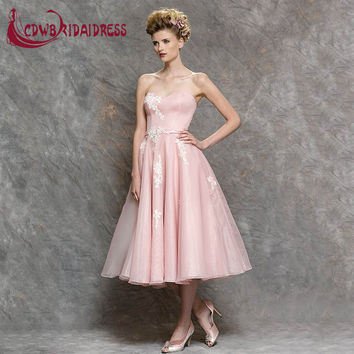 2017 Beautiful Pink Sweetheart Bridesmaid Dresses With White Lace Appliques Tulle Tea Length Maid of Honor Dress for Weddings