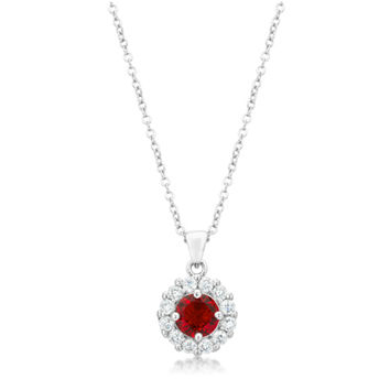 Belle Ruby Red Round Cut Halo Pendant Necklace | 4ct | Cubic Zirconia