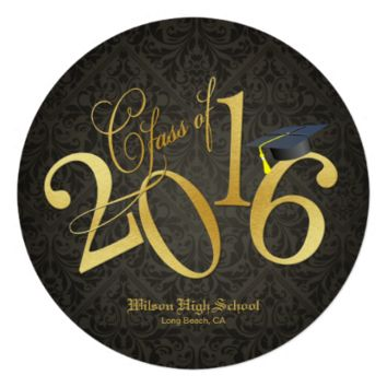 Funky Black & Gold Class of 2016 Graduation 5.25x5.25 Square Paper Invitation Card