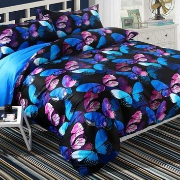 Brocade Magical Blue Pink Morpho Butterflies Printed Luxury 4-Piece Cotton Bedding Sets