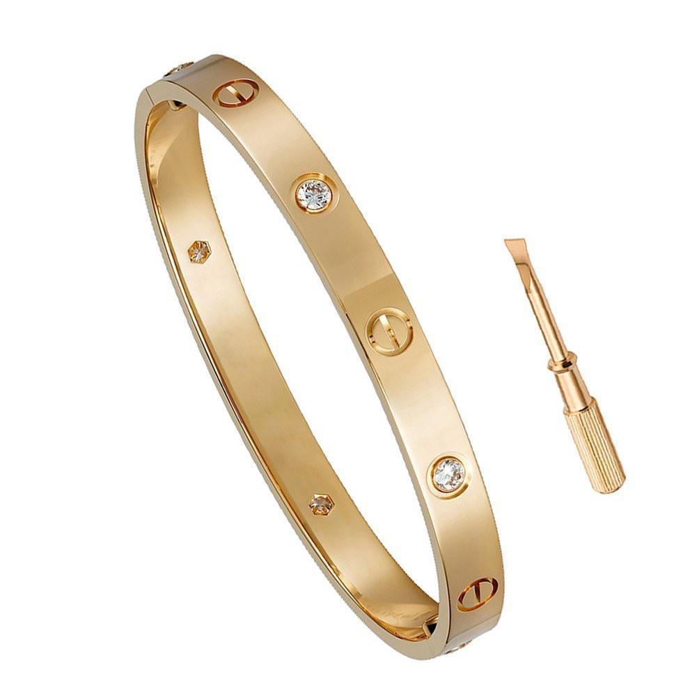 cartier gold accents screw head and throughout featuring closures love pin threaded white nail bracelet designer