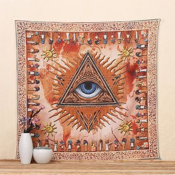 Merkaba Eyes Ancient Knowlage Printed Tapestry Decor Blanket