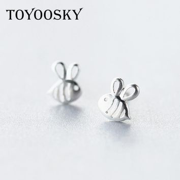 TOYOOSKY 1 Pair Real. 925 Sterling Silver Jewelry Honnybee Bee Stud Earrings Insect Sterling-Silver-Jewelry