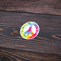 """Tie Dye Peace Sign - 4"""" (Pack Of 3) - Personalized Sticker, Die Cut Sticker, Peace Sign Sticker, Tie Dye Sticker, Wall Sticker, Decal"""