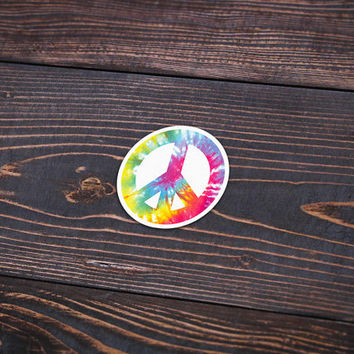 "Tie Dye Peace Sign - 4"" (Pack Of 3) - Personalized Sticker, Die Cut Sticker, Peace Sign Sticker, Tie Dye Sticker, Wall Sticker, Decal"