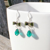 Run Through the Forest. Emerald Swarovski Drop Crystals, bow link and Sterling Silver Earrings.