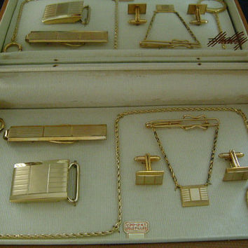HADLEY 1/20 12K GF Gold Filled Full Matching Complete Set Buckle Key Pocket Watch Fob Chain Cufflinks Tie Bar Clasp Money Clip Original Box