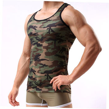 Fashion Military Style Men Vest Camouflage Tank Top Tight Sport Skinny bg2