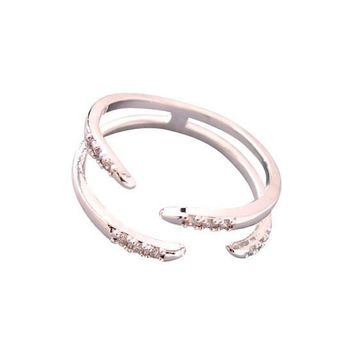 Gold Crystal Claw Ring
