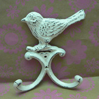 Bird Wall Hook Cast Iron Shabby Chic Distressed Creamy Off White Double Splay Wall Hooks for Jewelry Hat Coat Key Scarf Leash Hook